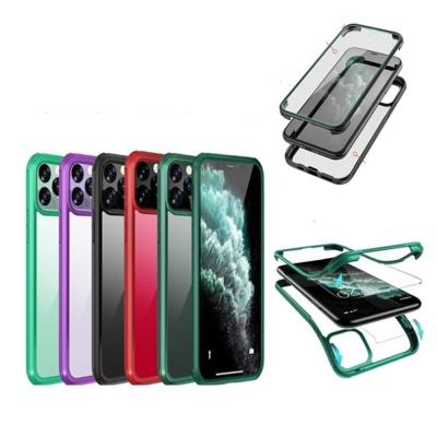 아이폰11 PRO MAX SE2 8 7 컬러라인 강화유리 케이스