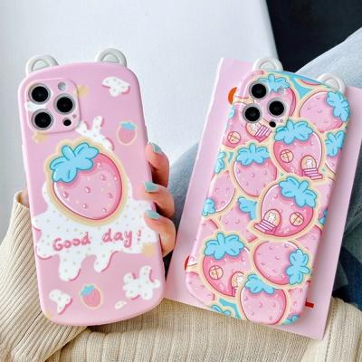 아이폰 x max se2 7 8 딸기 곰돌이 귀 실리콘 케이스