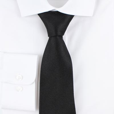 헤링본 솔리드 블랙 실크 넥타이 N359