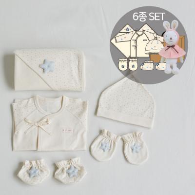오가닉베이비샤워선물6종세트(의류5종+토끼인형)
