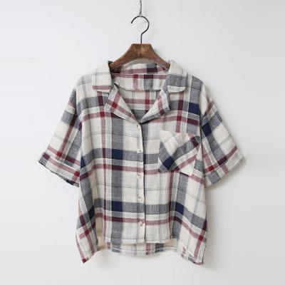 Linen Cotton Check Jacket - 반팔