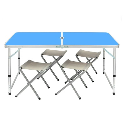 4인용 접이식 캠핑테이블 의자세트 블루 야외테이블