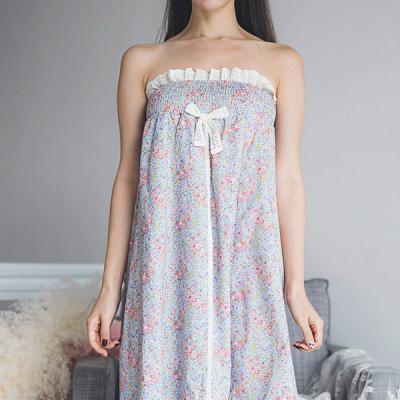 [쿠비카]플라워 바스트 밴딩 랩 가운 여성잠옷 W226