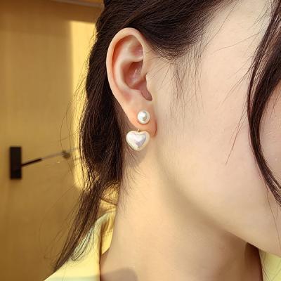 시링 진주 입체 하트 여성 귀걸이