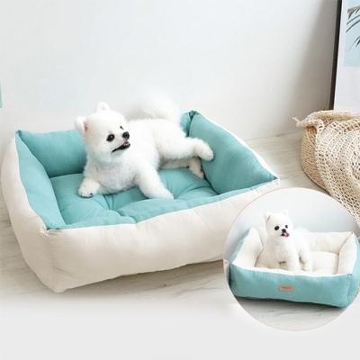 반려동물 강아지 팔레트 양면 베드 블루 쿠션 하우스