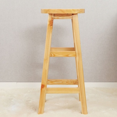 80cm 원목 원형 선반 겸 의자 화장대 간이의자
