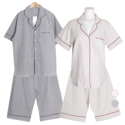 [쿠비카]올록볼록 고급 워싱 투피스 커플잠옷 WM341