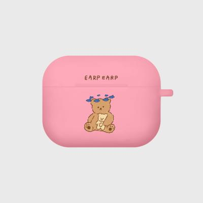 blue bird bear-pink(Air pods pro case)