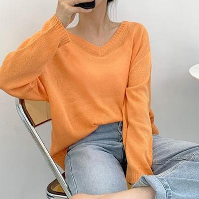 여성 가을 브이넥 라운드 니트 티 스웨터 캐시미어 펜