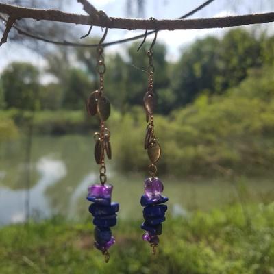 [Stone`s Story] 천연석 귀걸이 : 보라녘 파란꽃