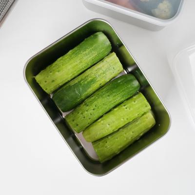 미니멀 사각 스텐 밀폐 찬통 보관용기 중 /냉장고정리