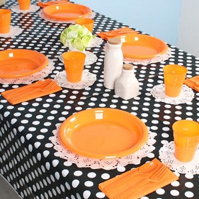 파티테이블셋팅패키지(10인용)-도트블랙&오렌지