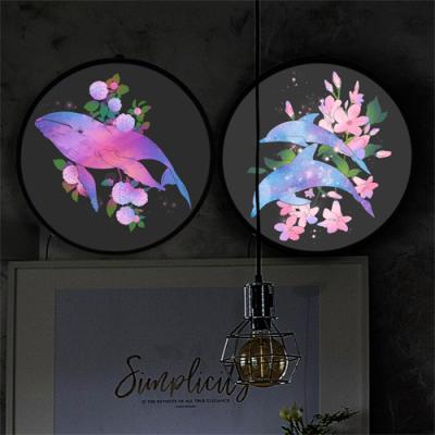 nh293-LED액자35R_꽃과돌고래