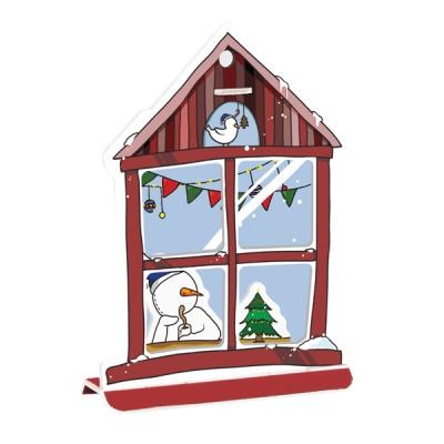 크리스마스 카드-코코아 마시는 눈사람