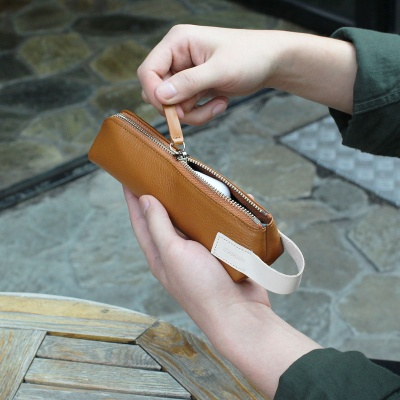 Zippered Pencil Case (가죽)탄