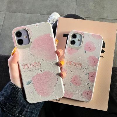 아이폰 핑크피치 패턴 사각 에어백 범퍼 실리콘케이스