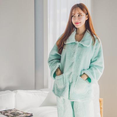 [쿠비카]단추여밈 자켓형 민트 투피스 여성잠옷 W122