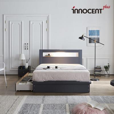 [이노센트] 리브 라이젠 LED 큰서랍 침대 Q/K