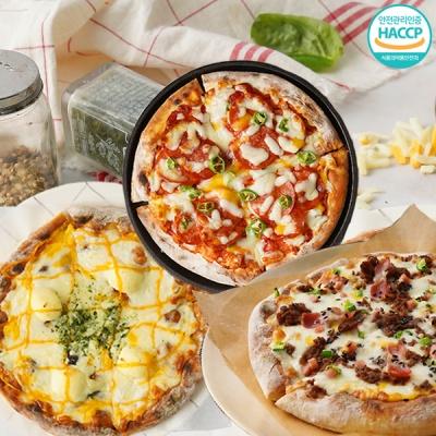 화덕에 구워낸 치즈피자+불고기피자+페페로니 피자