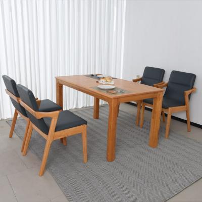 N424 4인 원목 식탁 세트(의자형) 2colors