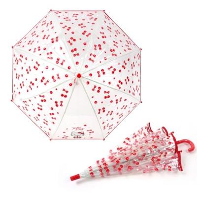 키티 47 체리 POE 우산 투명 여자아이 장우산 5 6세용