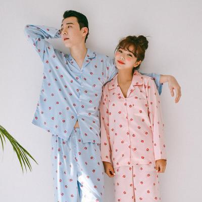 [쿠비카]딸기 레이스끈 7부 원피스 커플잠옷 WM166