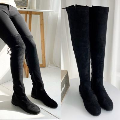 [애슬릿]매듭 둥근코 스웨이드 스판 롱 부츠 3cm