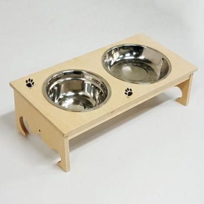 자작나무 애견식탁(왕관) 원목 2구 강아지 식탁