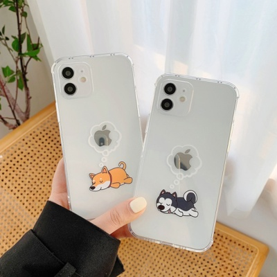 아이폰11 프로 맥스 사과 강아지 투명 젤리 폰 케이스