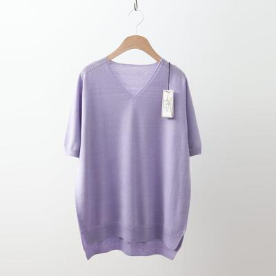 Laine Wool V-Neck Unbal Sweater - 반팔