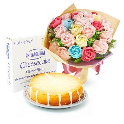 필라델피아 치즈케익 플레인(1700g)+비누꽃 파스텔다발