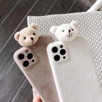 아이폰11 PROMAX XR XS SE2 8 곰돌이 스웨이드 케이스