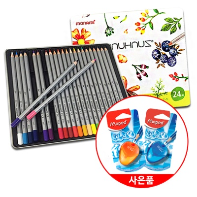 부드러운질감의 모나미 틴케이스 24색 색연필(+연필깎이)