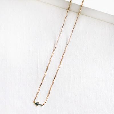 14k pink gold arrow diamond necklace