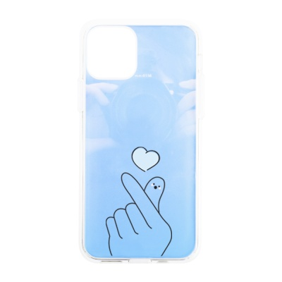나인어클락 하프미러 한쌍 커플 케이스 - 손하트 블루