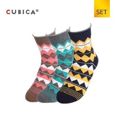 [쿠비카]아가일 체크 말림 중목 여성양말 3족 세트 CAS-SCS065 SET