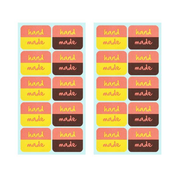 핸드메이드 스티커 (핑크&옐로 + 핑크&브라운 8x2개)