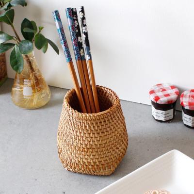 라탄 다용도통(연필통,소품통) - 바닥사각형 1p