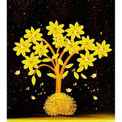 황금재물 나무 (패브릭) 보석십자수 40x45