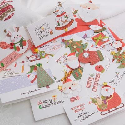 크리스마스카드/성탄절/트리/산타 미니세트 12종 set (FS507)