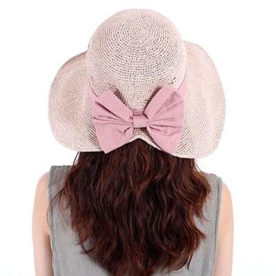 비치 왕골 모자 여자 이쁜 벙거지 와이어 버킷햇 핑크