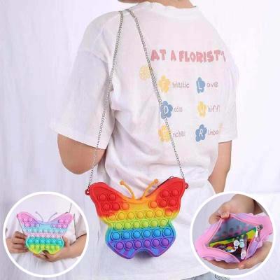 귀여운 나비 푸쉬팝 체인 크로스 백 실리콘 팝잇 가방