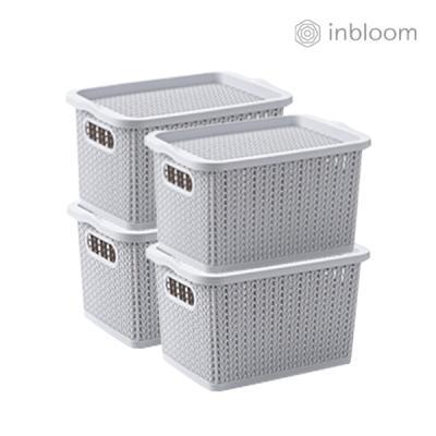 인블룸 4개세트 커버 라탄 리빙박스 대형 그레이