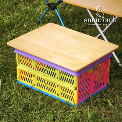 캠핑 다용도 폴딩 바스켓 박스 우드상판 단품