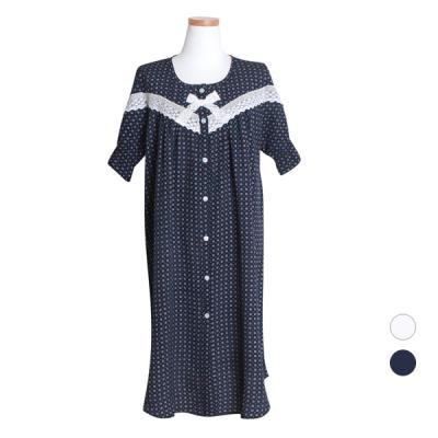 [쿠비카]반소매 라운드넥 인견 원피스 여성잠옷 W432