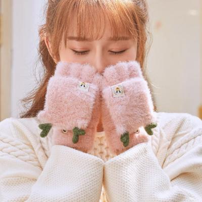 돌피니 하트 사슴 벙어리 겨울 털장갑