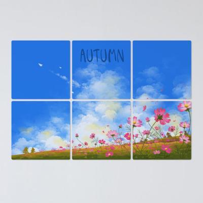 if746-멀티액자_가을풍경푸른하늘밑코스모스