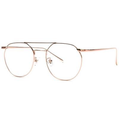 shine 두줄 로즈골드 육각형 안경 금속테안경 메탈