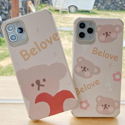 아이폰 귀여운 곰돌이 사각 매트 슬림 실리콘 케이스