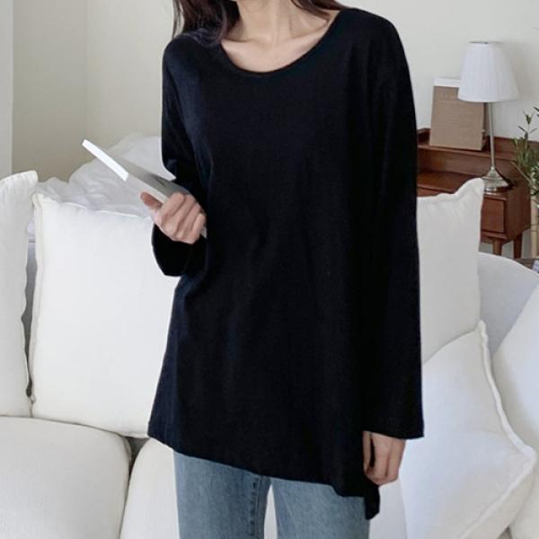 [애슬릿]국내 생산 면 100% 롱 슬리브 여자 티셔츠